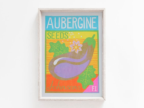 'Aubergine Seeds' - A4 original risograph print