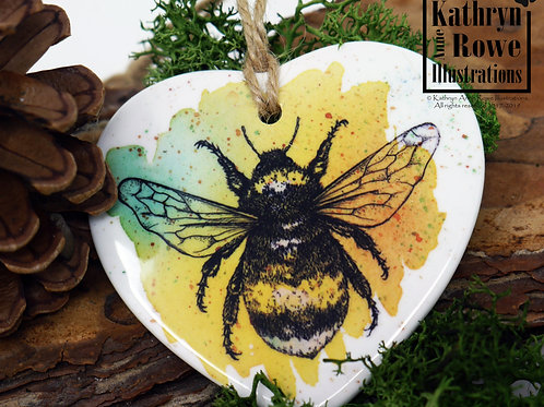 Ceramic honey bee Christmas decoration - with wildflower seeds and postcard