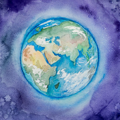 Watercolour planet Earth - photo by Elen