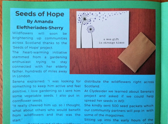 Lovely coverage of our project in West Dunbartonshire's community magazine - Clydesider