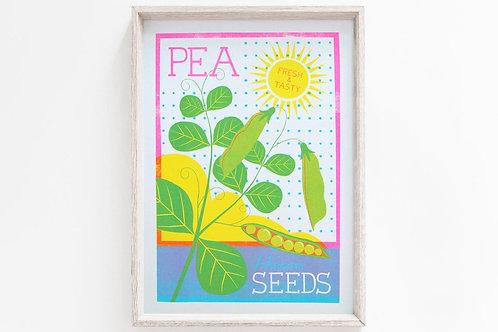 NEW - 'Pea Seeds' - A4 original risograph print