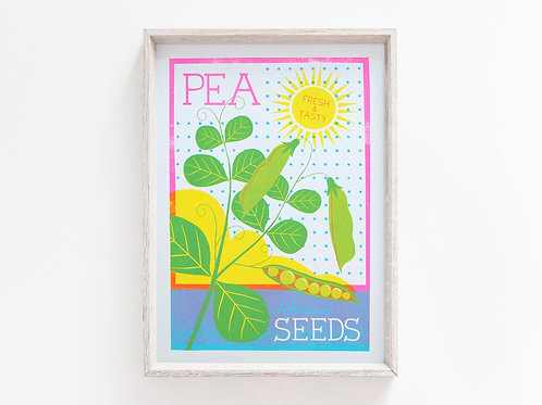 'Pea Seeds' - A4 original risograph print