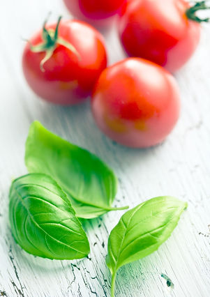 Basil leaves with tomatoes - photo from
