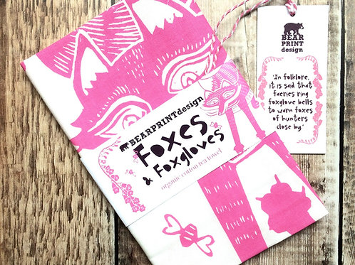 'Foxes & foxgloves' organic cotton tea towel - with foxglove seeds and postcard