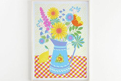 NEW - 'Summer Blooms' - A3 original risograph print