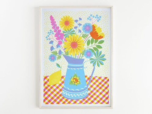 'Summer Blooms' - A3 original risograph print