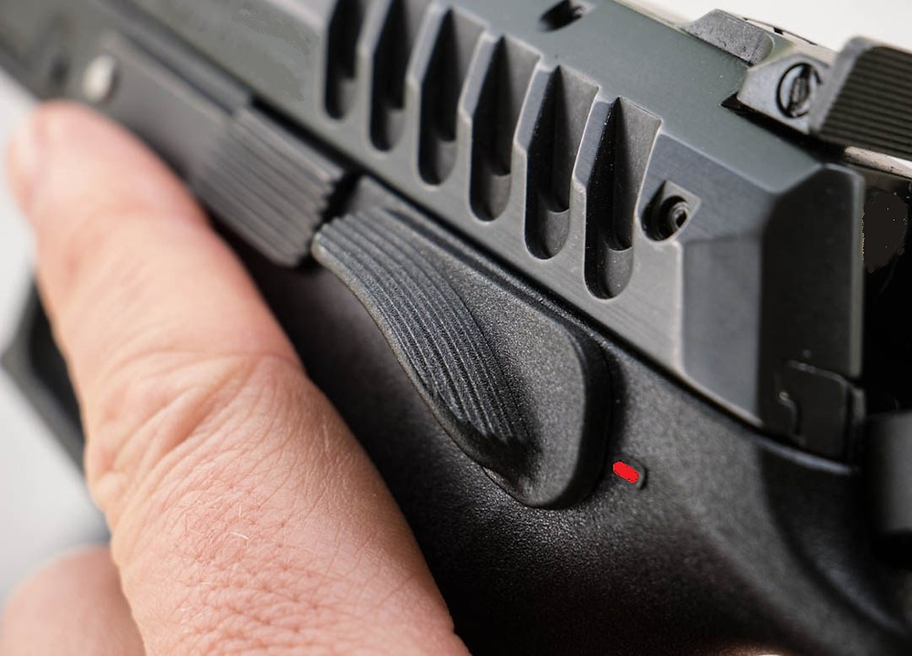 Manual safety on a semi-automatic handgun