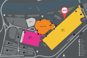 Map of the Melbourne Convention Exhibition Centre and the location of the AOE meet-and-greet (on the steps in front of the Exhibition Centre, along the wharf).