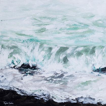 """Seafoam Shores"" 20x20 Original Acrylic on Canvas"