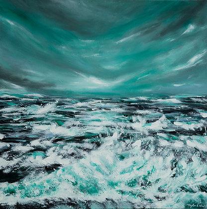 """Emerald Storm"" 24x24 Original Acrylic Painting"