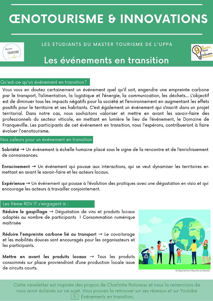Newsletter Les événements en transition.