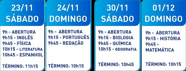 Pré-prova UFRGS 2020 HORÁRIOS