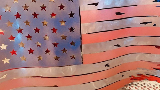 Handmade Metal American Flag
