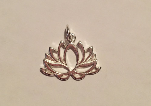 Lotus Flower Sterling Silver .925 Charm