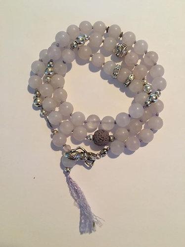 Rose Quartz  Matte Hand Knotted Mermaid bracelet or necklace