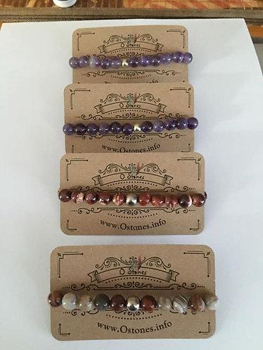 Gemstone stretch bracelets