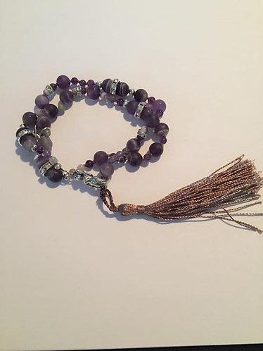 Amethyst  Matte  Hand Knotted Gemstone Mermaid Bracelet