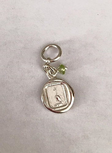 Dove Charm with Peridot Bead. Sterling Silver .925 13mm size