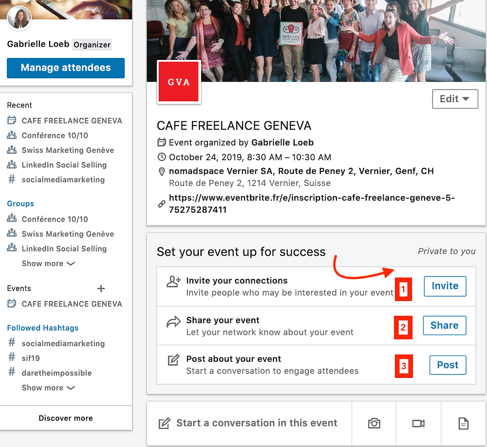 Using the new feature 'LinkedinEvents' to organize an event in Geneva
