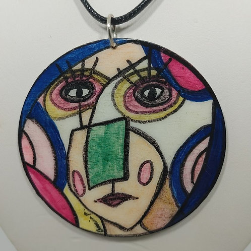 Necklace Abstract face Alice's Queen