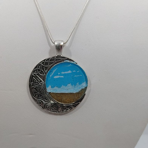 Love this Beach Necklace- Crescent Moon with Resin