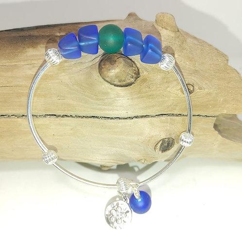 Seaglass Bracelet with sand dollar