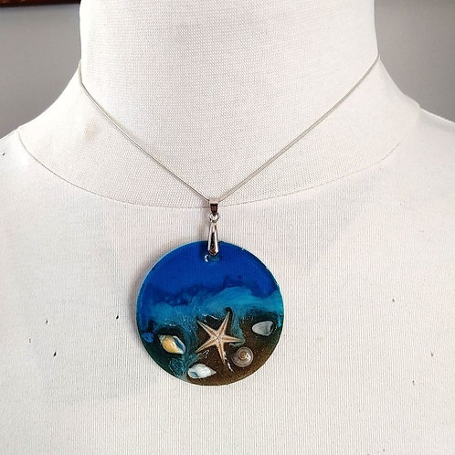 """2 1/4"""" round resin based necklace"""