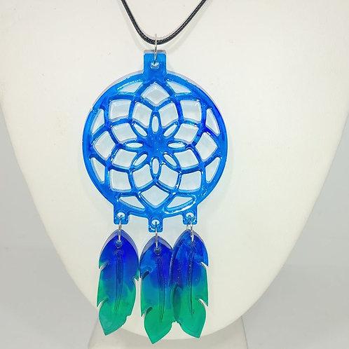Blue/Green Resin Dreamcatcher Necklace