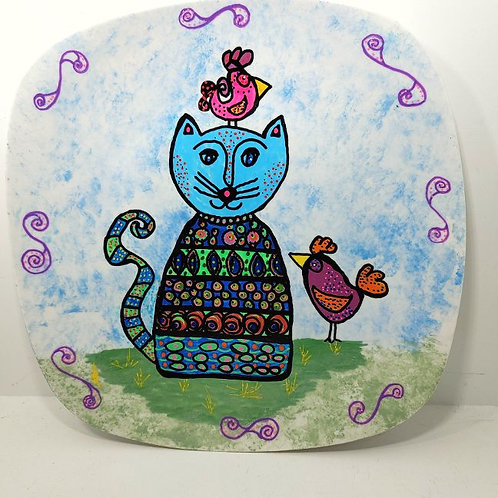 Plate - Cat with Birds