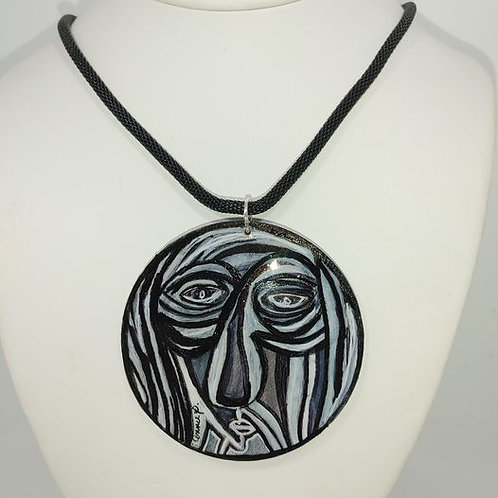 Necklace Abstract face in black and white