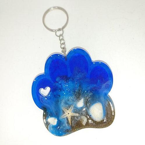 Love This Beach Key Ring - dog paw shaped