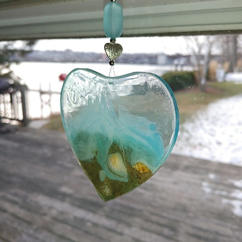 Love this Beach  Heart Suncatcher