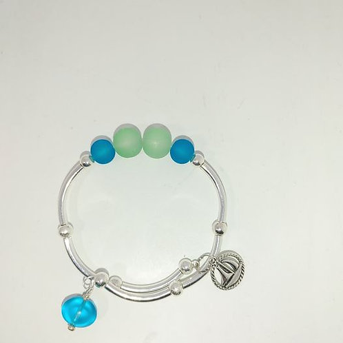 Seaglass Bracelet with sailboat