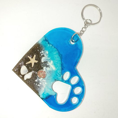 Love This Beach Key Ring - dog paw