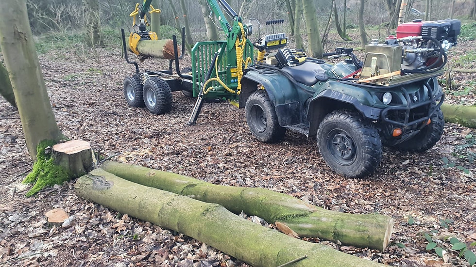 Kellfri ATV Timber Trailer With Wheel Drive And Articulated Steering
