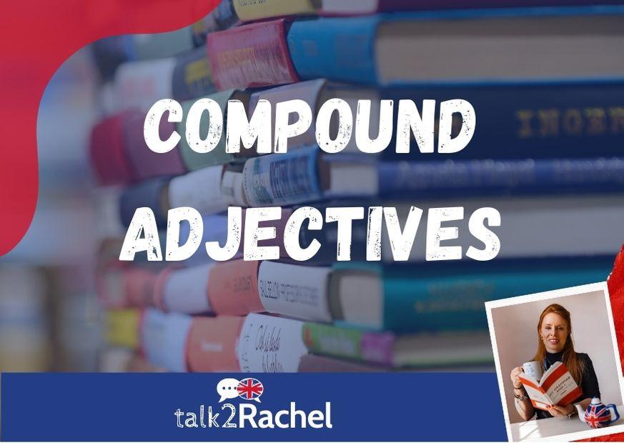 Livros empilhados escrita Compound Adjectives