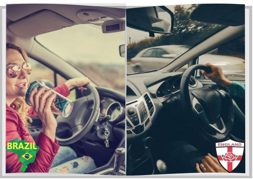 Mulher e homem ao volante