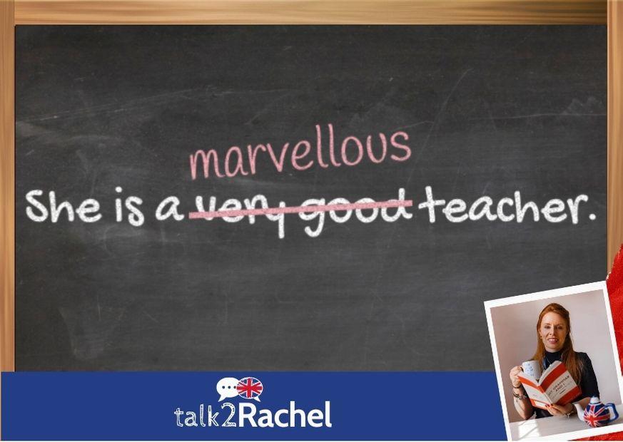 Uma lousa escrito she is a very good teacher