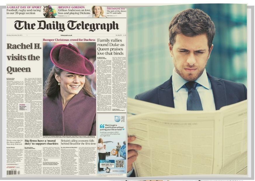 Capa de jornal e homem lendo jornal