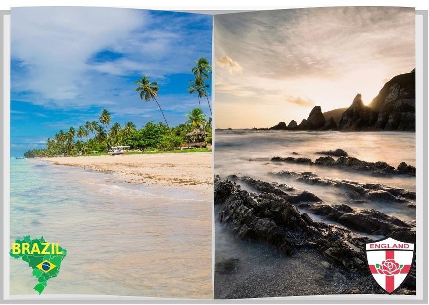 Comparativo praia no Brasil e na Inglaterra
