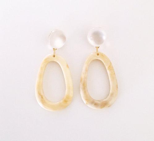 Beige Acrylic Earrings