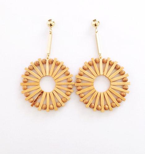 Round Wooden Earrings