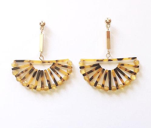 Tortoise Fan Earrings