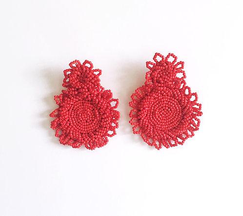 Red Seed Bead Earrings