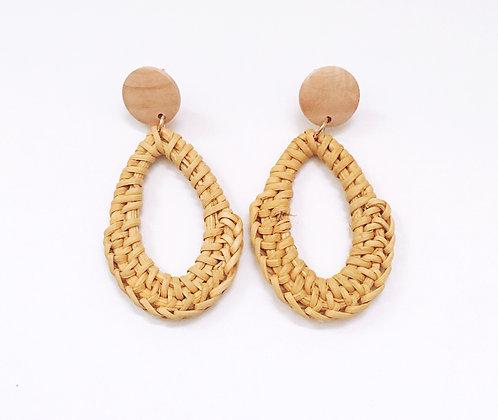 Wooden Straw Earrings