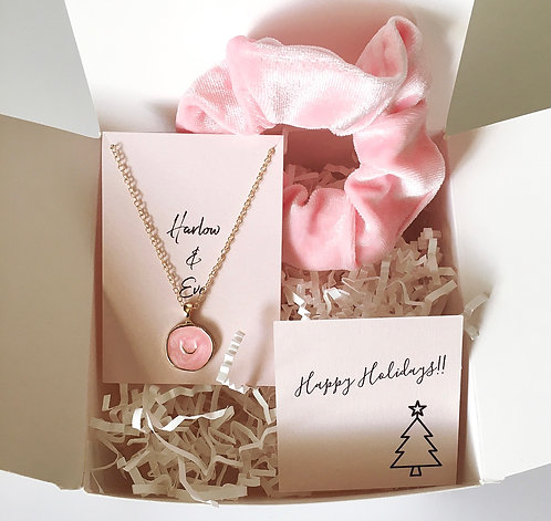 Pink Celestial Necklace and Scrunchie Gift Box