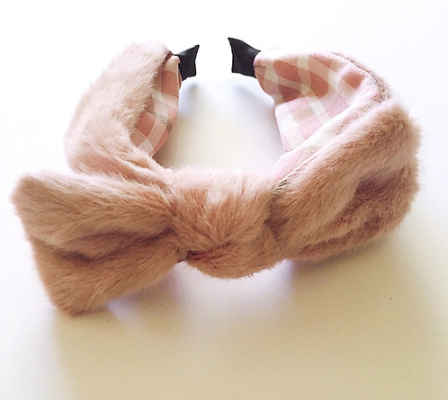 Pink Faux Fur Bow Headband