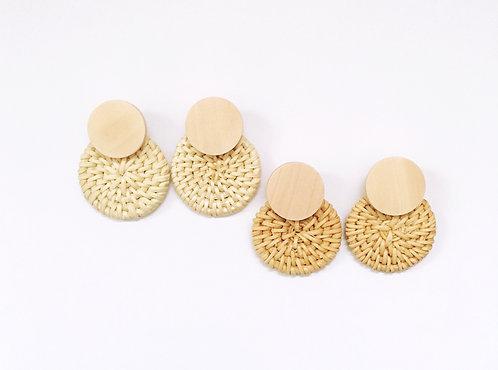 Round Rattan Earrings