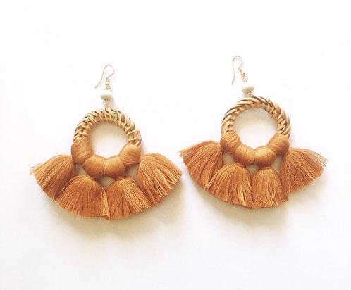 Brown Rattan Tassle Earrings