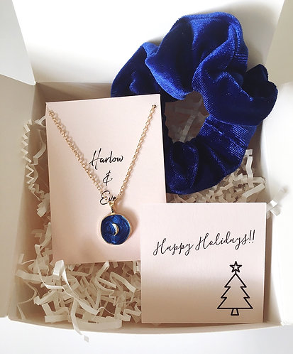 Crescent Moon Necklace and Scrunchie Gift Box